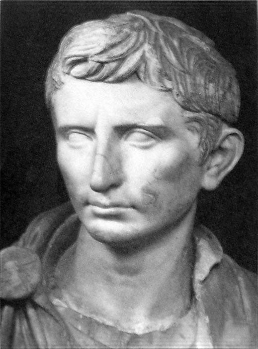 A reconstructed statue of Augustus as a younger Octavian, dated c. 30 BC (Public Domain) and a Roman bust of the consul and triumvir Mark Antony, Vatican Museums (Public Domain)