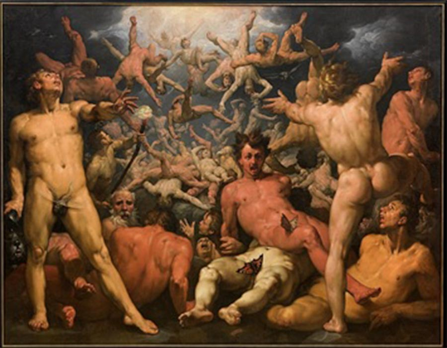 The Fall of the Titans by Cornelis Cornelisz van Haarlem (1596–1598) (Public Domain)