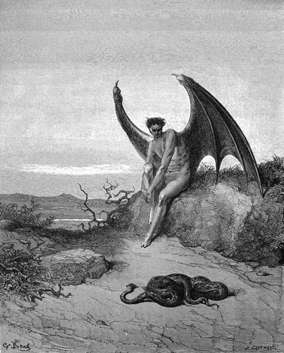 """Illustration to Paradise Lost""""... he [Satan] held on /His midnight search, where soonest he might finde /The Serpent: him fast sleeping soon he found ..."""" by Gustave Doré (Public Domain)"""