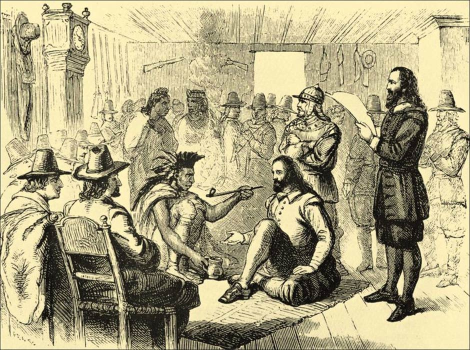 Massasoit smoking a ceremonial pipe with Governor John Carver in Plymouth, 1621 (Public Domain)