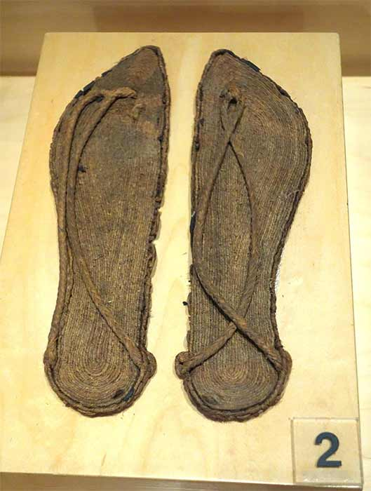 The oldest known oral version of the Cinderella story is the ancient Greek story of Rhodopis, a Greek courtesan who married an Egyptian king. Pair of ancient sandals from Egypt (CCO)