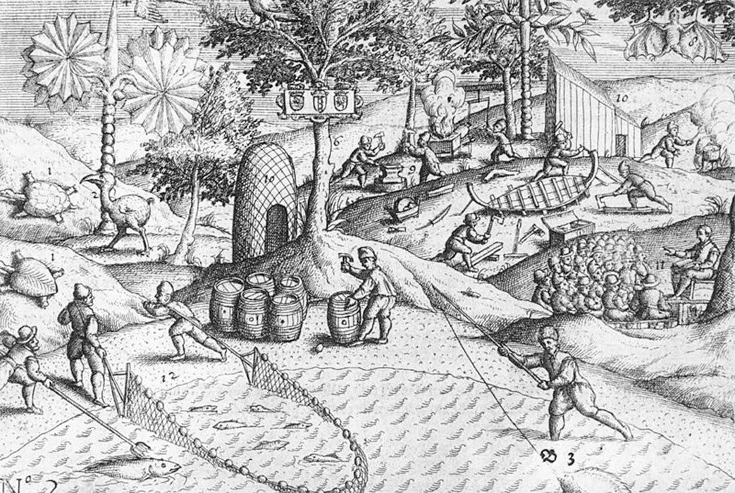 Copper engraving showing Dutch activities on the shore of Mauritius, as well as the first published depiction of a dodo bird by Johann Theodor de Bry (1601) (Public Domain)