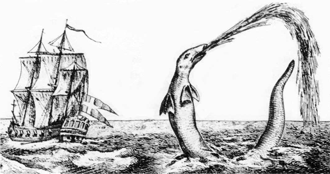 Sea serpent reported by Hans Egede, Bishop of Greenland, in 1734 (Public Domain)