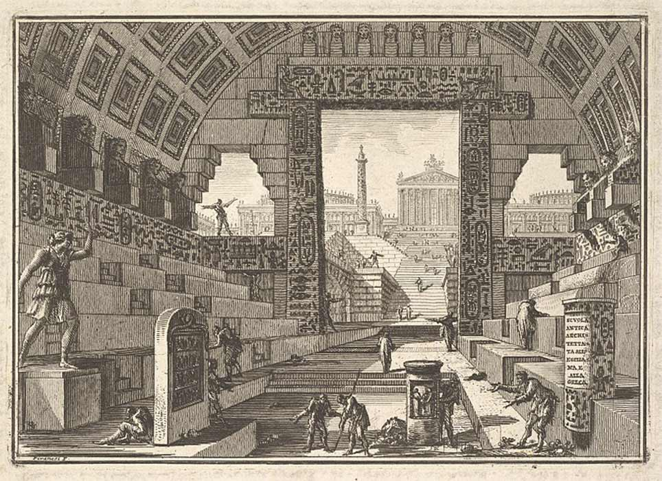 Ancient school built according to the Egyptian and Greek manners by Giovanni Battista Piranesi (1750) Metropolitan Museum of Art (Public Domain)