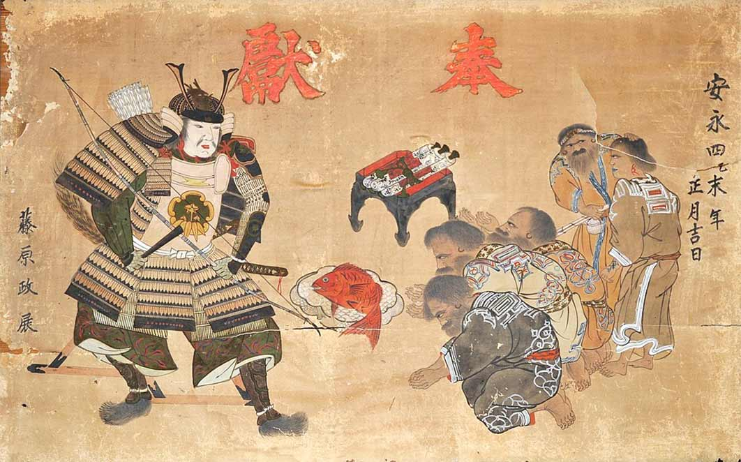 A Japanese samurai and Ainu in Hokkaido around 1775. Ainu Genre Ema (絵馬), Hakodate City Museum, Hokkaido, Japan (Public Domain)