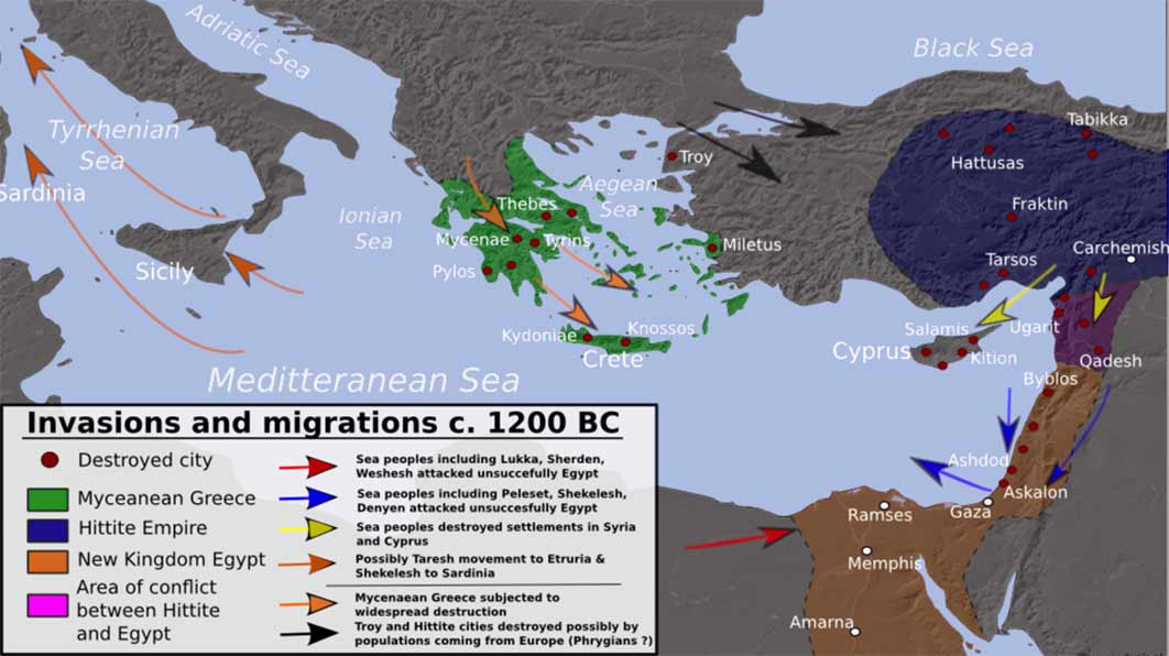 Invasions, population movements and destruction during the collapse of the Bronze Age, c. 1200 BC derived from Atlas of World History (2002) (Alexikoua / CC BY-SA 3.0)
