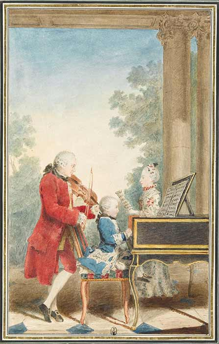 The Mozart family on tour: Leopold, Wolfgang, and Nannerl  by Carmontelle (c. 1763) (Public Domain)