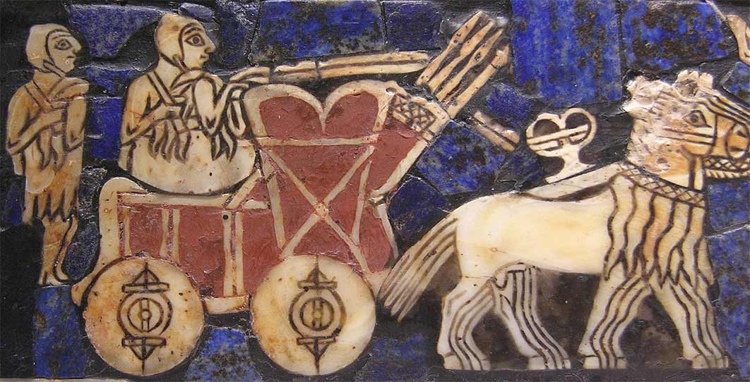 """The wheel, invented sometime before the fourth millennium BC, is one of the most ubiquitous and important technologies. This detail of the """"Standard of Ur"""", c. 2500 BC., displays a Sumerian chariot (Public Domain)"""