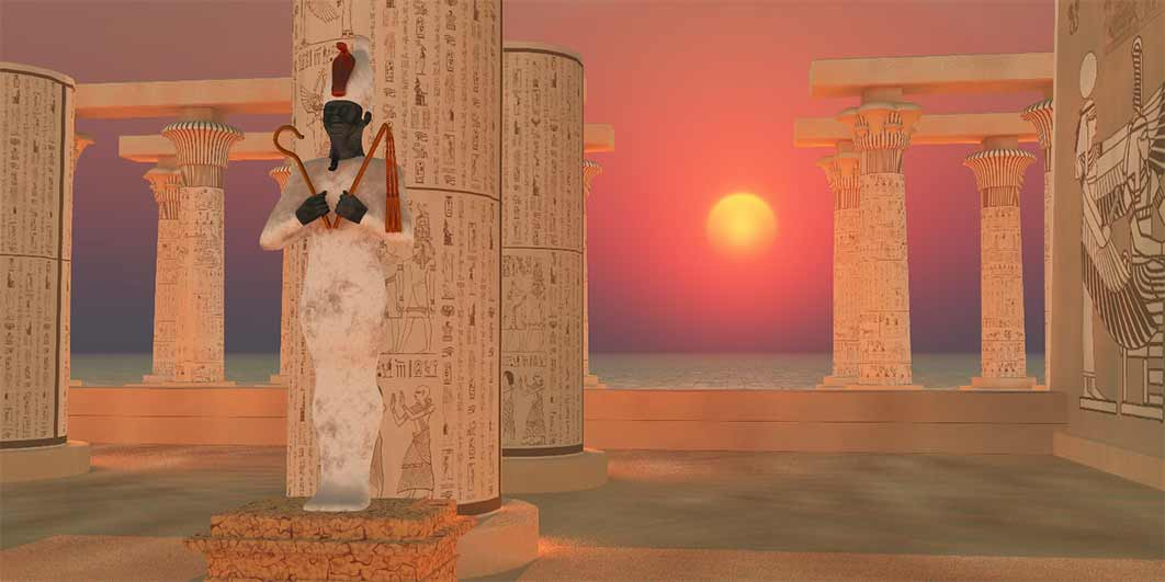 Osiris God Statue - The Egyptian god of resurrection and the afterlife Osiris stands as a statue in a temple in the desert. (Catmando/ Adobe Stock)