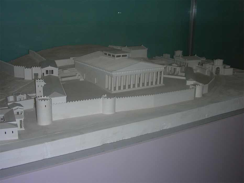 Restoration of the Eleusinian Sactuary (550 – 510 BC) at Eleusis showing the Pisistratan Wall and Telesterion. Model by J Travlos (Image: Courtesy Micki Pistorius)