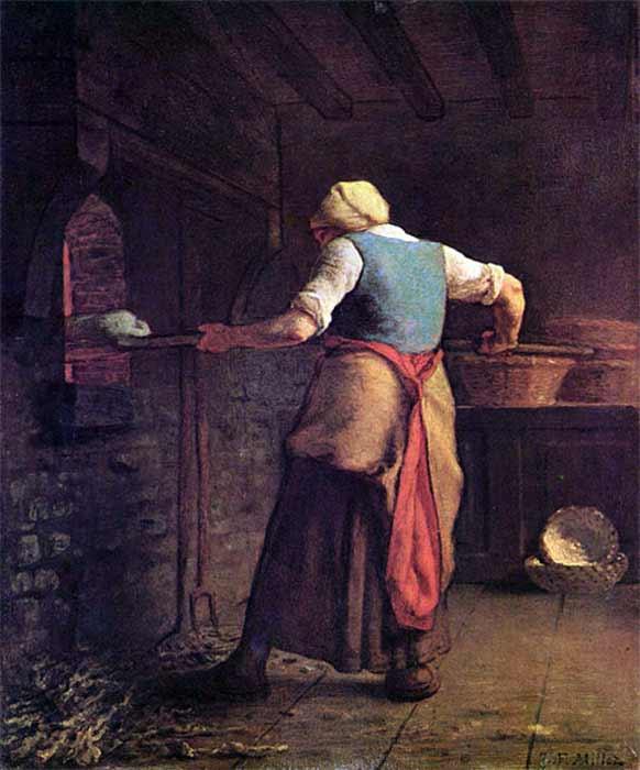 A woman baking bread by Jean-François Millet (1854) Kröller-Müller Museum (Public Domain)