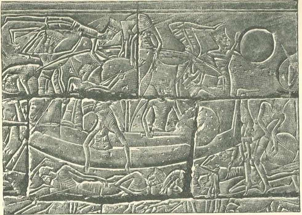 Sea Peoples in their ships during the battle with the Egyptians. Relief from the mortuary temple of Ramesses III at Medinet Habu (Public Domain)