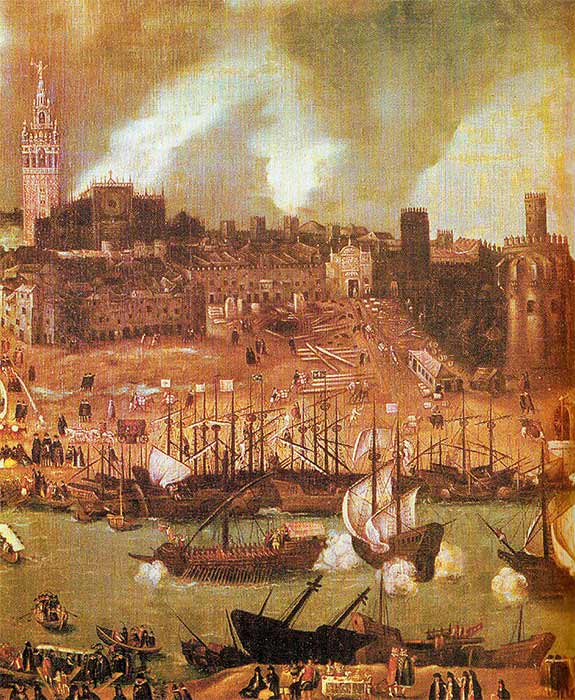 A shipyard on the river Guadalquivir in 16th century Seville: detail from a townscape by Alonso Sánchez Coello. (Public Domain)\