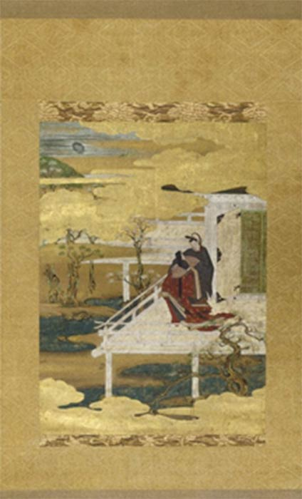 Late-16th- or early-17th-century hanging scroll in ink and gold leaf illustrating a scene from Genji. (Public Domain)