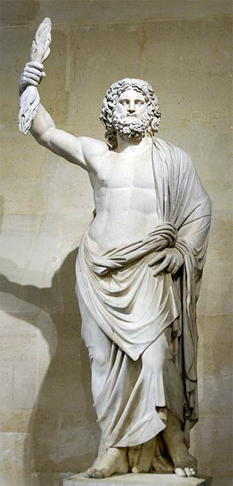 Statue of an anonymous male deity brought to Louis XIV, restored as Zeus by Pierre Granier (1686) (Public Domain)