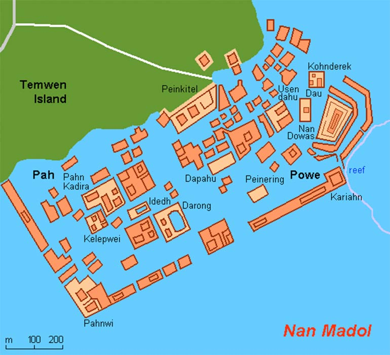 Map of Nan Madol.  Federated States of Micronesia (Public Domain)
