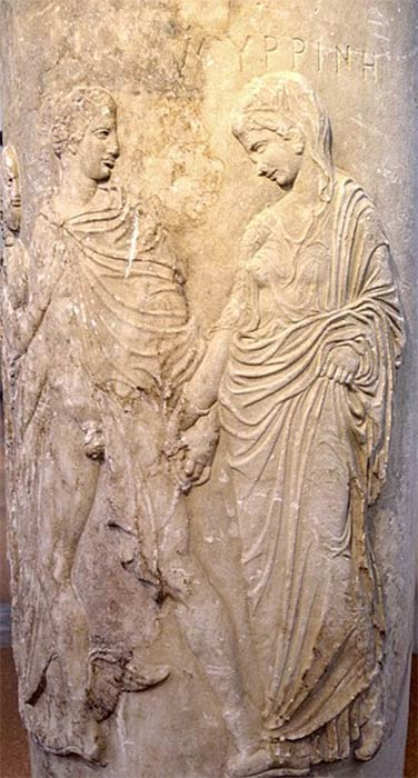 Carved relief in a funerary lekythos at Athens depicting Hermes as psychopomp accompanying the ghost of Myrrhine into Hades (ca. 430-420 BC). National Archaeological Museum of Athens (Marsyas / CC BY-SA 3.0)