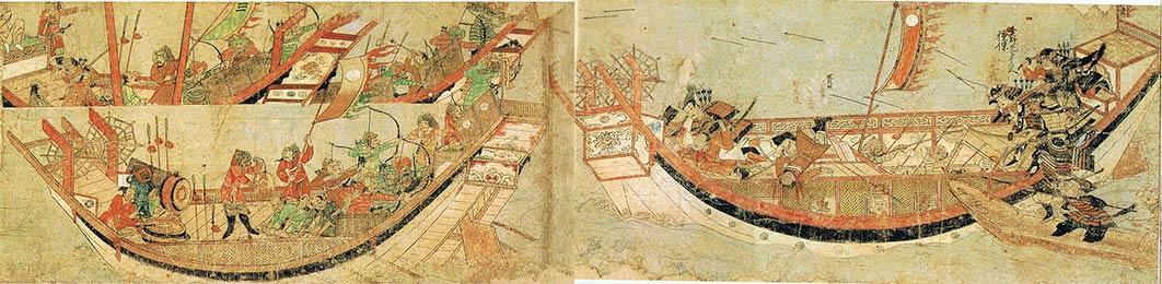Japanese samurai boarding Mongol Yuan dynasty ships in 1281. (Public Domain)