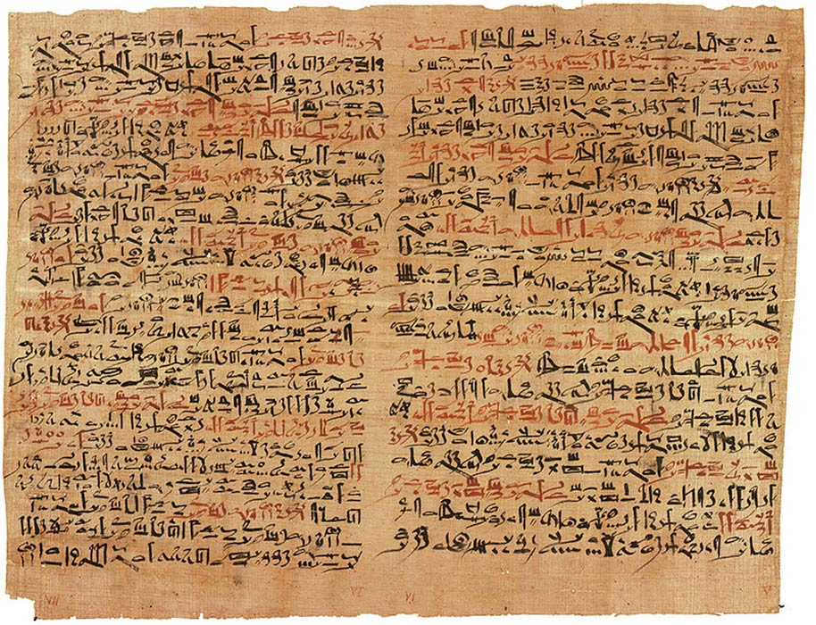 The Edwin Smith Papyrus documents ancient Egyptian medicine, including the diagnosis and treatment of injuries (Public Domain)