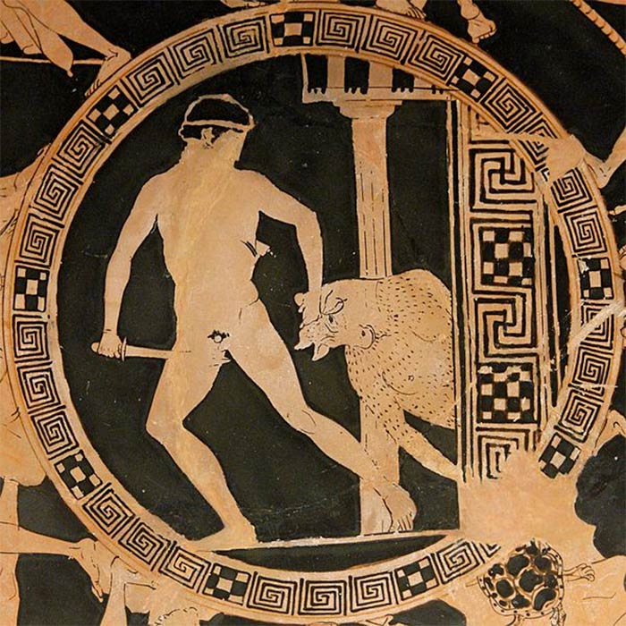 Theseus dragging the Minotaur from the Labyrinth. Tondo of an Attic red-figured kylix, (ca. 440-430 BC). Vulci. British Museum (CC BY-SA 2.5)