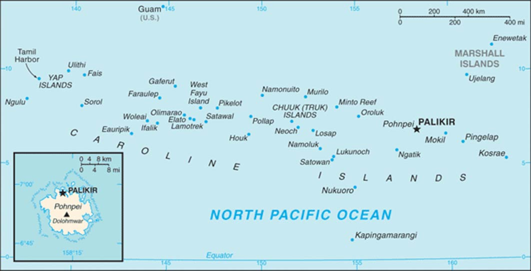 Map of the Federated States of Micronesia. (Public Domain)