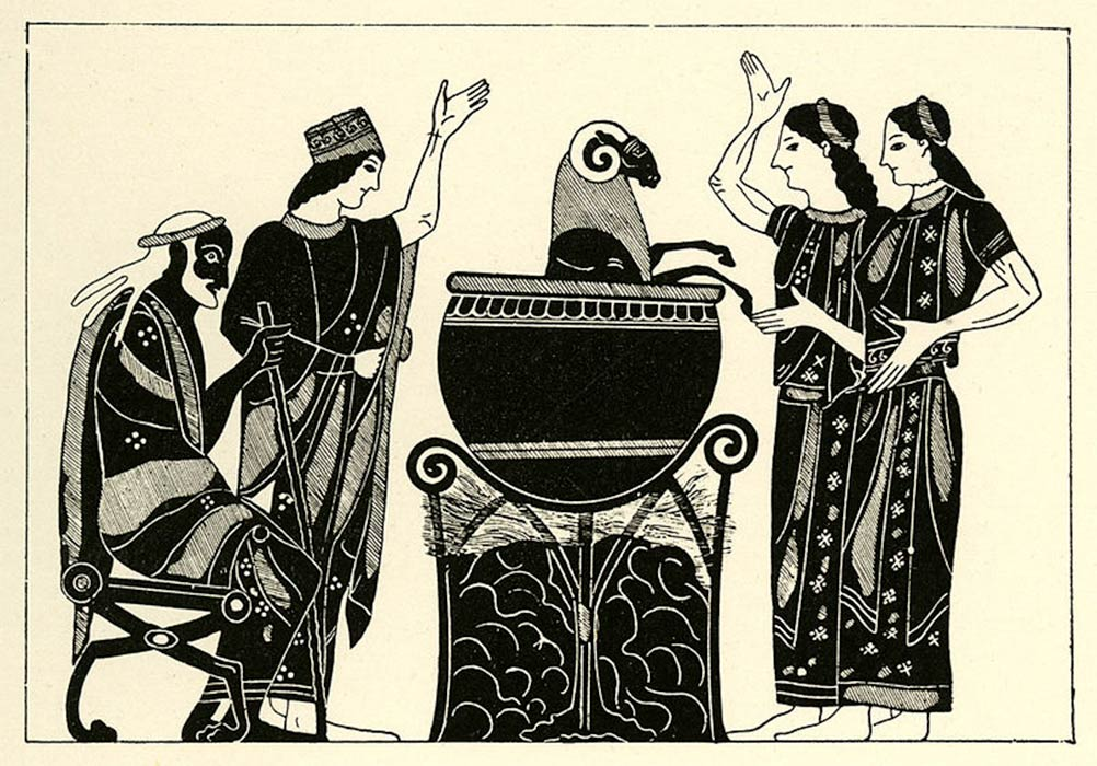 Medea boiling the ram before Pelias. Drawing after an Attic black-figure amphora. British Museum (CC BY-SA 2.0)