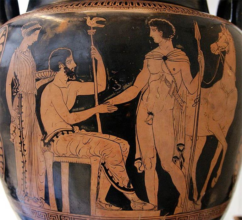 Theseus arriving at Athens and being recognized because of his sword by Aegeus. Apulian red-figured volute-krater, (ca. 410–400 BC.) Ruvo. British Museum. (CC BY-SA 2.5)