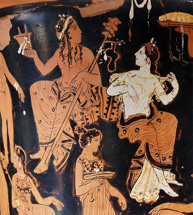 Dionysos and Ariadne. Detail from the side A of an Attic red-figure calyx-krater. (ca. 400-375 BC). From Thebes. (Public Domain)