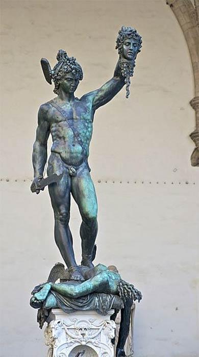 Perseus holding the head of Medusa, by Benvenuto Cellini, Loggia dei Lanzi, Florence; Italy (Public Domain)
