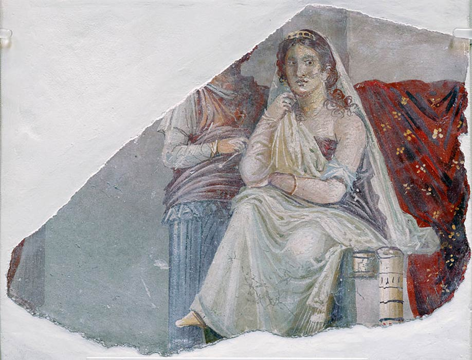 Phaedra with an attendant, probably her nurse, a fresco from Pompeii. ( 60–20 BC )(Finn Bjørklid/ CC BY-SA 3.0)