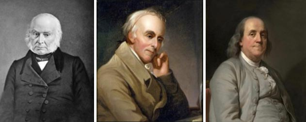 Three of the Electricizers: John Quincy Adams (Public Domain); Benjamin Rush by Charles Peale (1818) (Public Domain) and Benjamin Franklin by Joseph Duplessis (1785) (Public Domain)