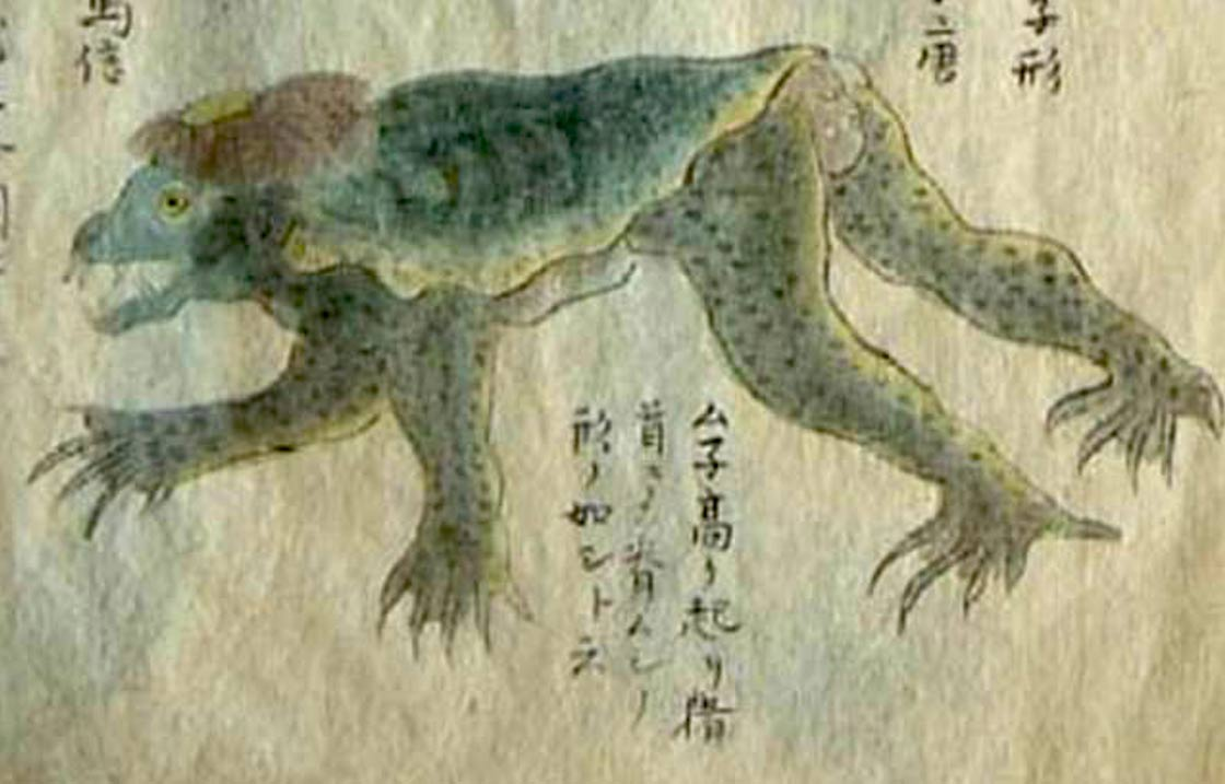 The strange and often dangerous water demon of Japanese legend, the Kappa.