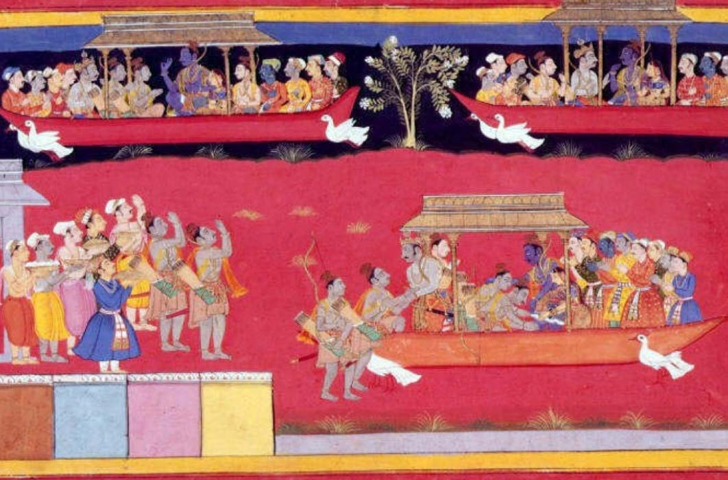 Pushpaka vimana depicted three times, twice flying in the sky and once landed on the ground.(Public Domain)