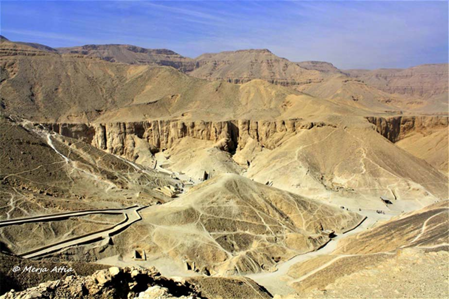 An overview of the Valley of the Kings as seen from one of the ancient workmen's pathways. The royal necropolis was plundered ruthlessly for golden treasures by the state.