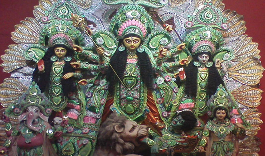 An idol of Durga Pooja, comprising Goddess Durga, her daughters Laxmi, Saraswati and her sons Ganesha, Karitik
