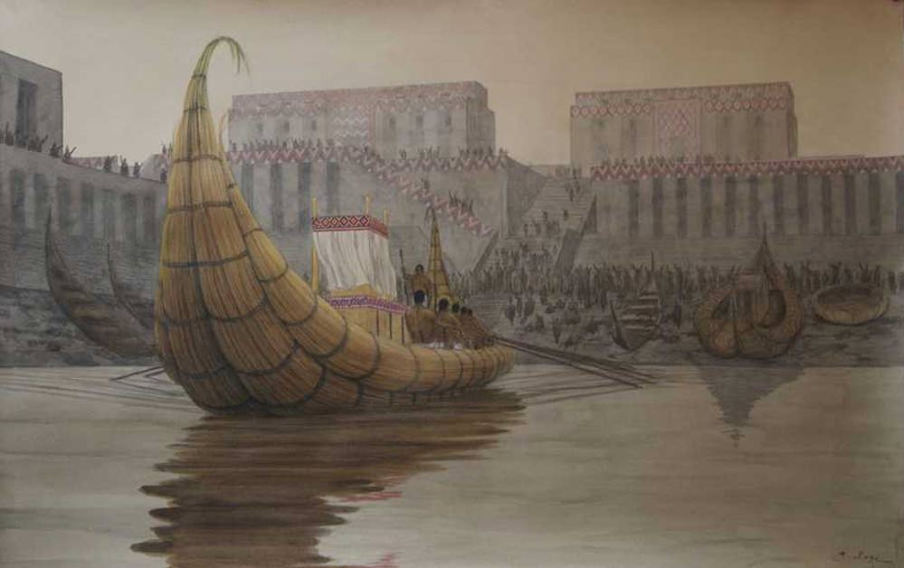 Illustration depicting a recreation of the ancient port at Eridu.