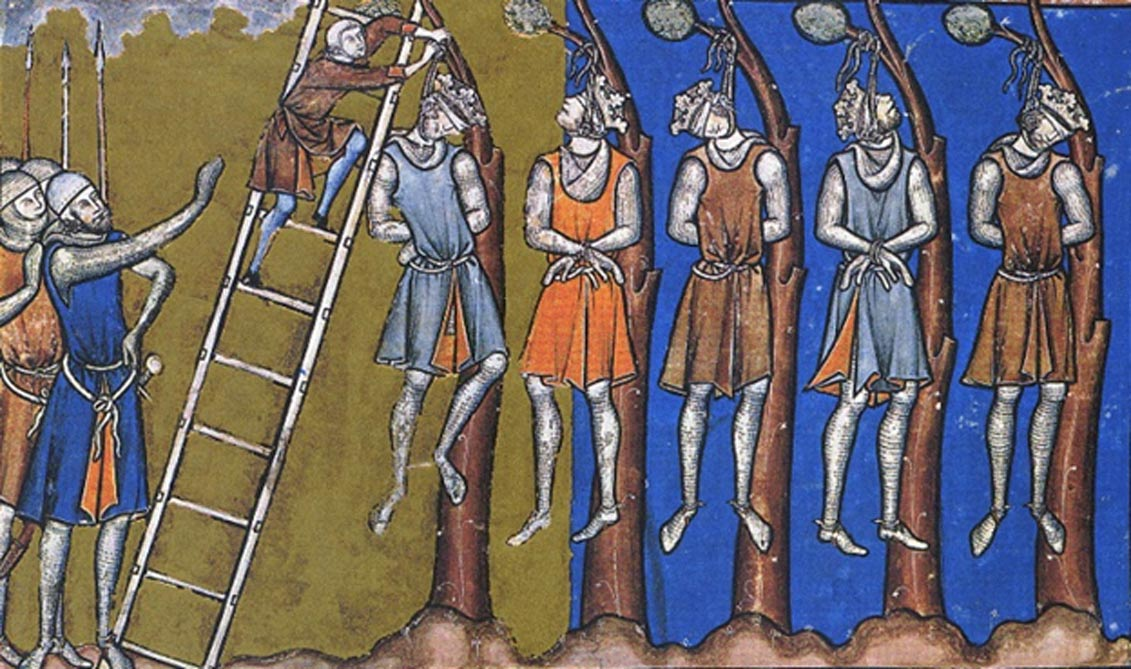"Medieval depiction of ""royal justice"" and the ruthless approach to dealing with dissent"