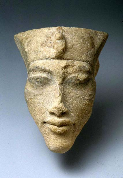 A sandstone head of King Akhenaten found in Tell el-Amarna at the Sculptors' workshops during the Petrie/Carter excavations, 1891–92. Metropolitan Museum of Art, New York.