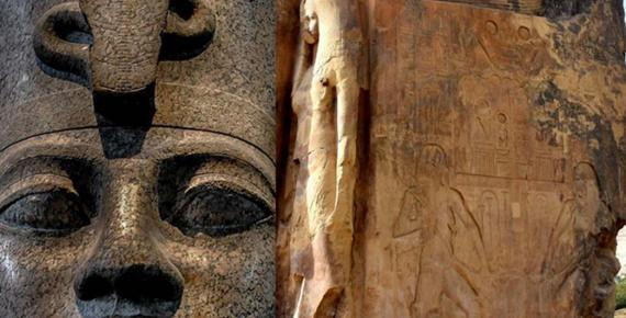 Head from a red granite statue of Amenhotep III wearing the double crown of Upper and Lower Egypt found at Karnak; side panel of one of the Colossi of Memnon shows a relief of Hapy, the Nile god, and a sculpture of Queen Tiye; design by Anand Balaji (Photo credits: Leslie D. Black and MusikAnimal)