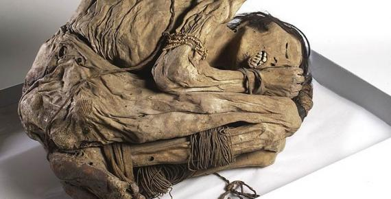 A naturally preserved Peruvian mummified male, possibly from the North coast of Peru where the Chimu culture buried their dead in 'mummy bundles', curled up in foetal position with bound hands and feet.(1200 – 1400 AD)(Wellcome Images / CC BY-SA 4.0)