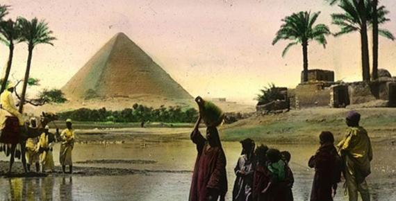 The great Nile dam, at the head of the first cataract of the Nile, is 600 miles above Cairo. OSU Special Collection. (Public Domain)