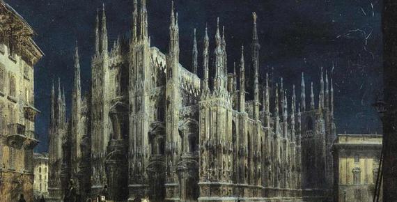 Notturno di Piazza del Duomo a Milano by Angelo Inganni (before 1866) (Public Domain)