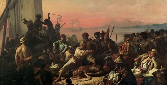 The Slave Trade by Auguste-Francois Biard, (1840). As of June 2007 it hangs at the entrance to the