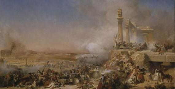 Battle of Heliopolis during Napoleon's invasion of Egypt in 1800 by Léon Cogniet. Collections du château de Versailles. (Public Domain)