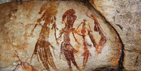 Bradshaw rock paintings found in the north-west Kimberley region of Western Australia.
