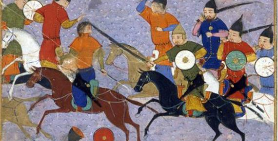 Battle between Mongols & Chinese mounted on war horses (1211).