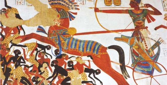Ramses II at his chariot falls upon the Nubians