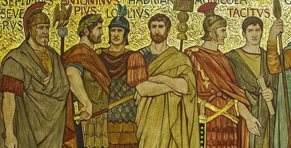 Agricola among Roman generals and emperors in this frieze from the Great Hall of the National Galleries Scotland by William Brassey Hole (1897)