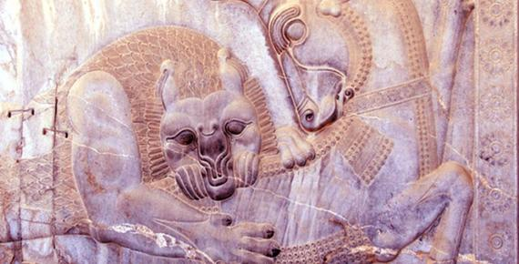 "Relief on the Apadana Staircase on the eastern wall [of the Apadana Palace] from the ruins at Persepolis, ""the Persian City"", ceremonial capital of the Achaemenid Empire. Deriv"