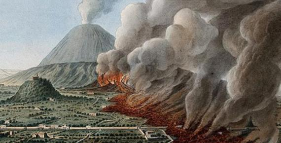 Mount Vesuvius: a volcanic eruption at the foot of the mount by Pietro Fabris, (1776). (Wellcome Images)